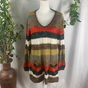NY Collection Multi-Color Pocketed  V Neck Sweater